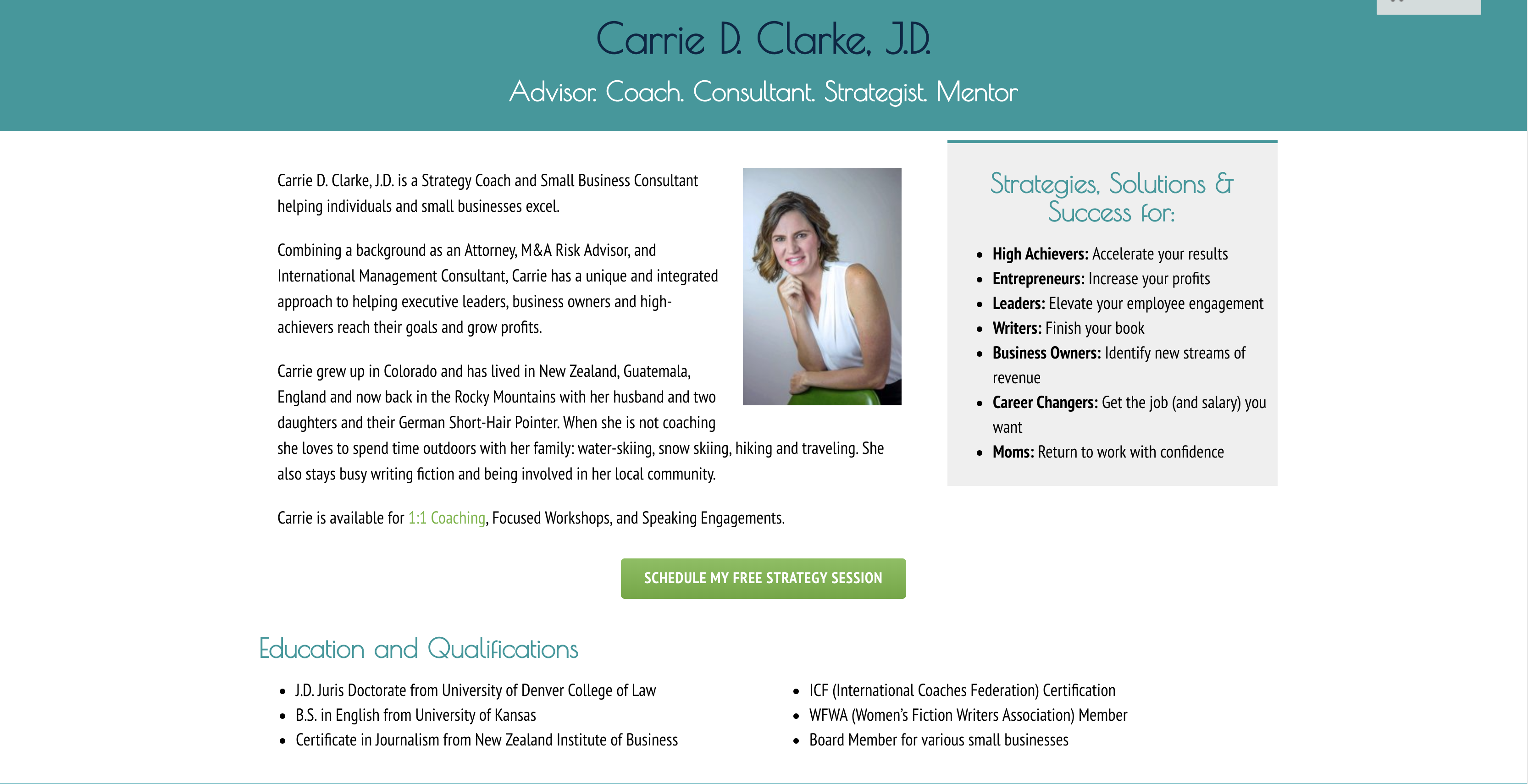 Coaching Website Review - Carrie's About-Us Section